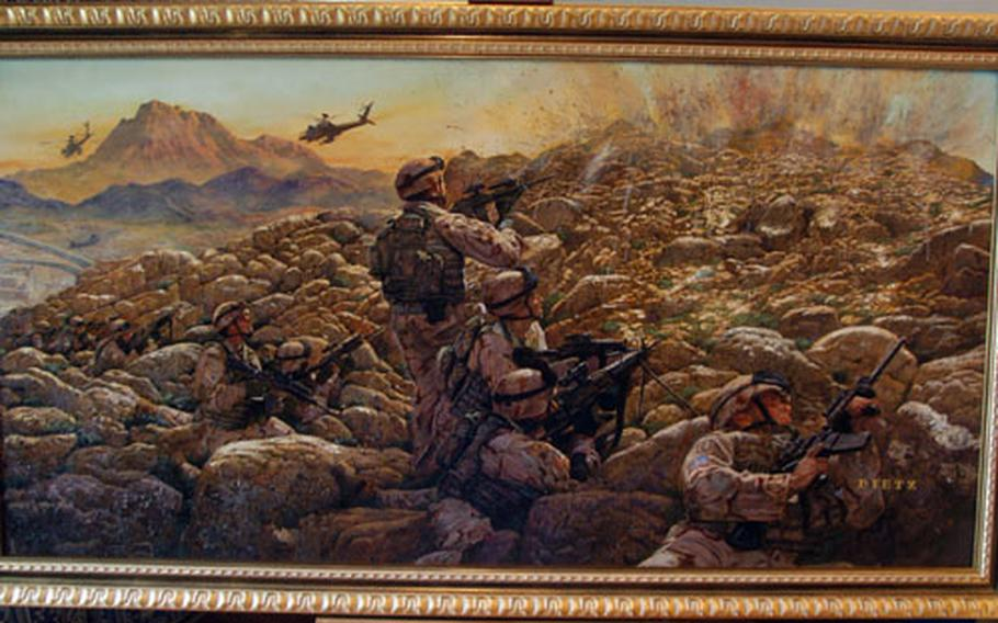 """James Dietz's painting """"Sky Soldiers in Contact"""" was unveiled Thursday at Caserma Ederle in Vicenza, Italy. The painting was commissioned to memorialize the 173rd Airborne Brigade's service in Afghanistan in 2005 and 2006."""
