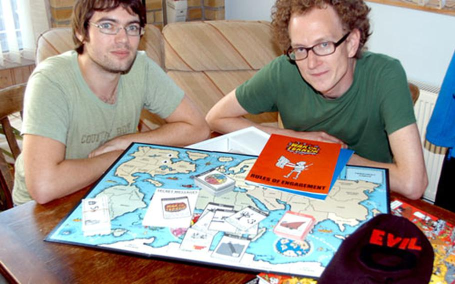 Friends Andrew Sheerin, left, and Andy Tompkins created the War on Terror board game, which is scheduled to launch Oct. 9.
