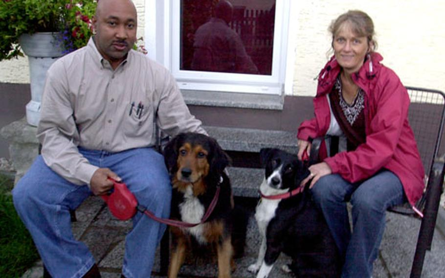 Department of Army civilian range control worker Neville Gallimore and his wife, Brigitta, said Monday that they have had no luck finding a house near Grafenwöhr, Germany, since moving there from Fort Hood, Texas, on Aug. 8. Their dogs — Jolie and Dixie — are not making house hunting easy, they say.