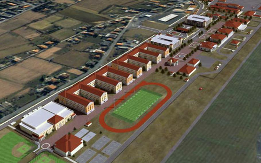 If the U.S. gets permission from the Italian government to use the Dal Molin airfield as a home for the 173rd Airborne Brigade, the facilities might look something like this artist's rendering. The Americans say they won't use the existing runway, at right, to deploy troops.