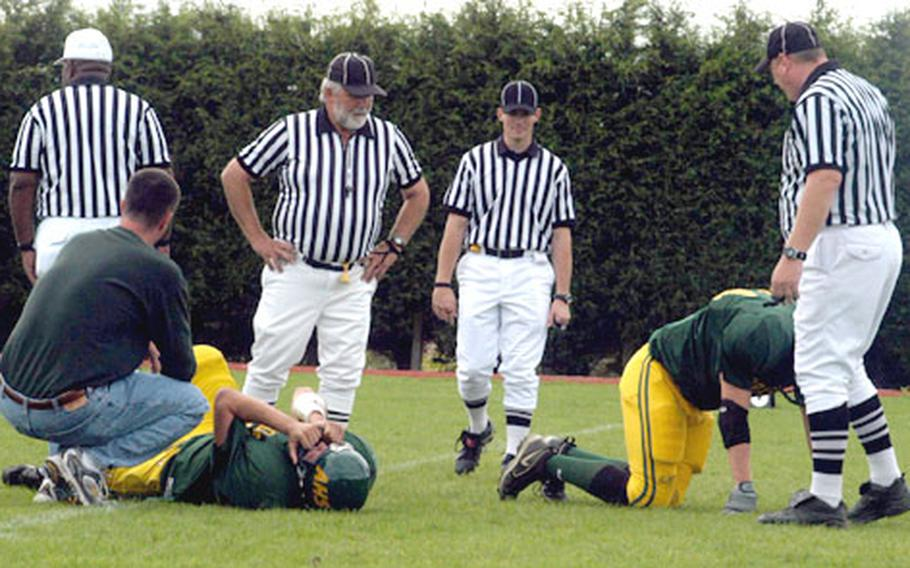 The dominant Mustang offense sent Alconbury coaches rushing onto the field to attend to injured players more than once in Saturday's contest.