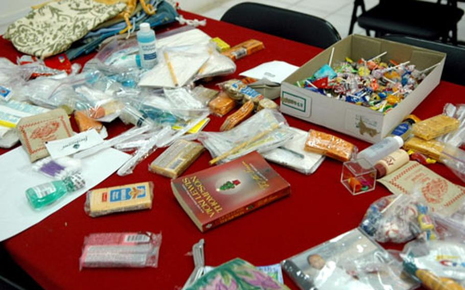 A typical selection of care-package loot at an MWR facility at Camp Victory, Iraq.