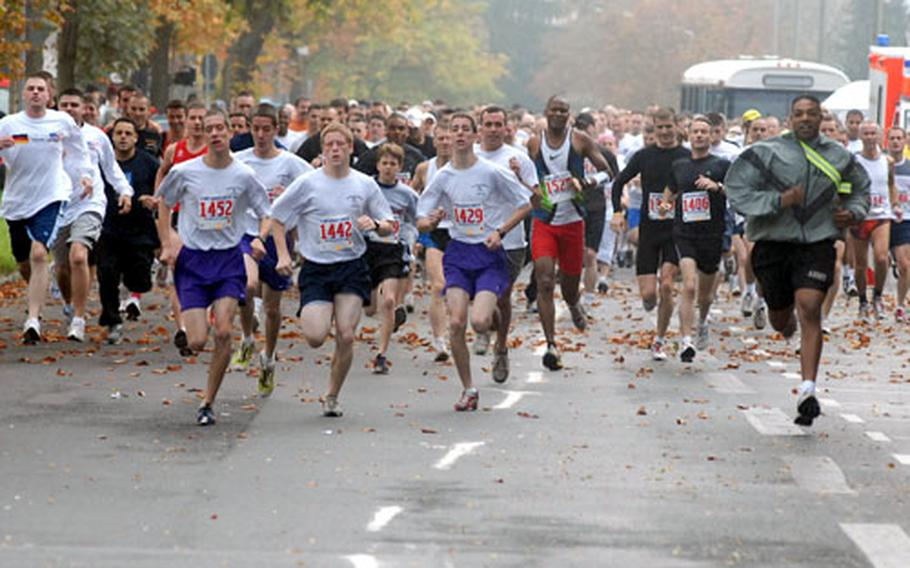 Hundreds of runners head down Darmstadt, Germany's Ludwigshöhstrasse on their way to Frankenstein Castle, a little more than 8 — mostly uphill — miles away, at the start of the annual Frankenstein Castle Run.