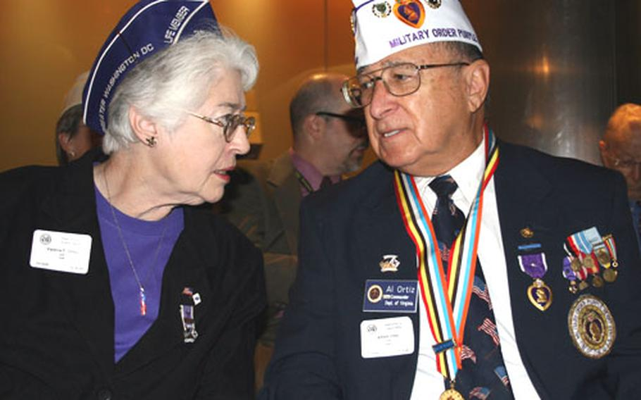 Al Ortiz of Chapter 1775 of the Military Order of the Purple Heart was on hand with his wife, Val, a member of the group's ladies' auxiliary.