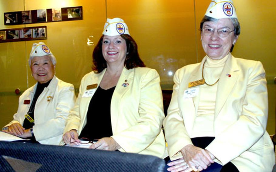 From left to right, Rose Lee, Suzanne Stack and Edie Smith of the Gold Star Wives.