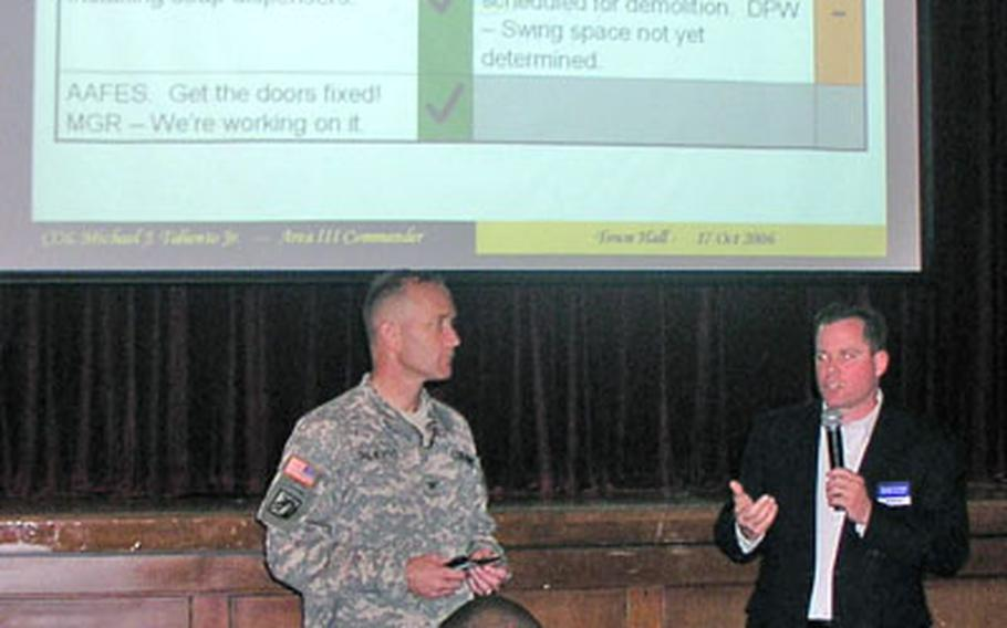 George B. Ricker, AAFES manager for Area III, addresses community residents Tuesday night at quarterly town hall meeting in the Camp Humphreys Community Acitivities Center. Area III Commander Col. Michael J. Taliento Jr. listens at left.