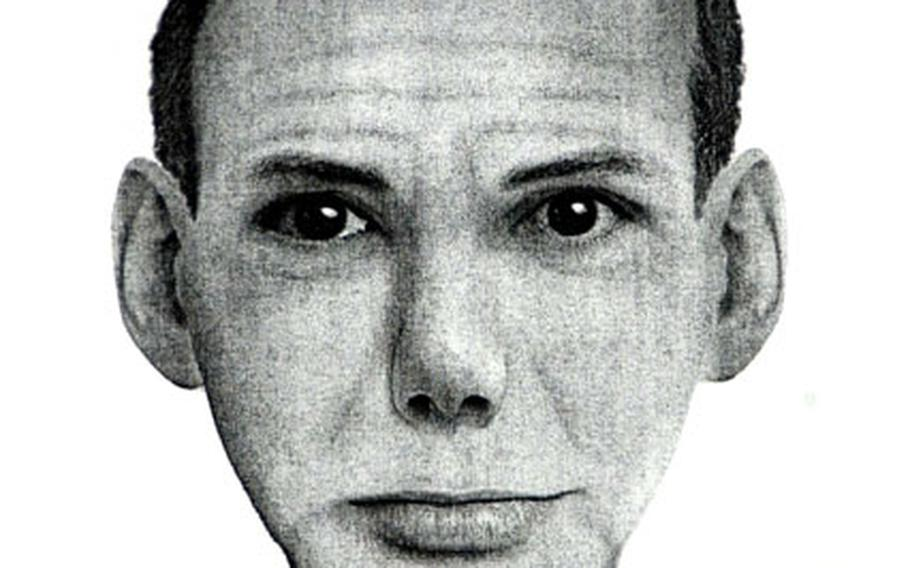 This police sketch shows a man sought in connection with a purse snatching near Yongsan Garrison.