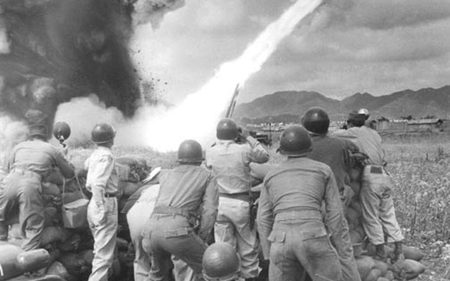 An Honest John rocket blasts off at a firing range in South Korea in 1959.