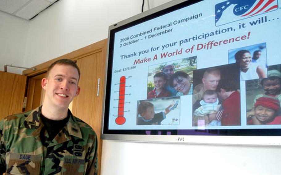 First Lt. Matt Daue, CFC coordinator, helped RAF Mildenhall exceed its CFC goal this year with more than $272,000.