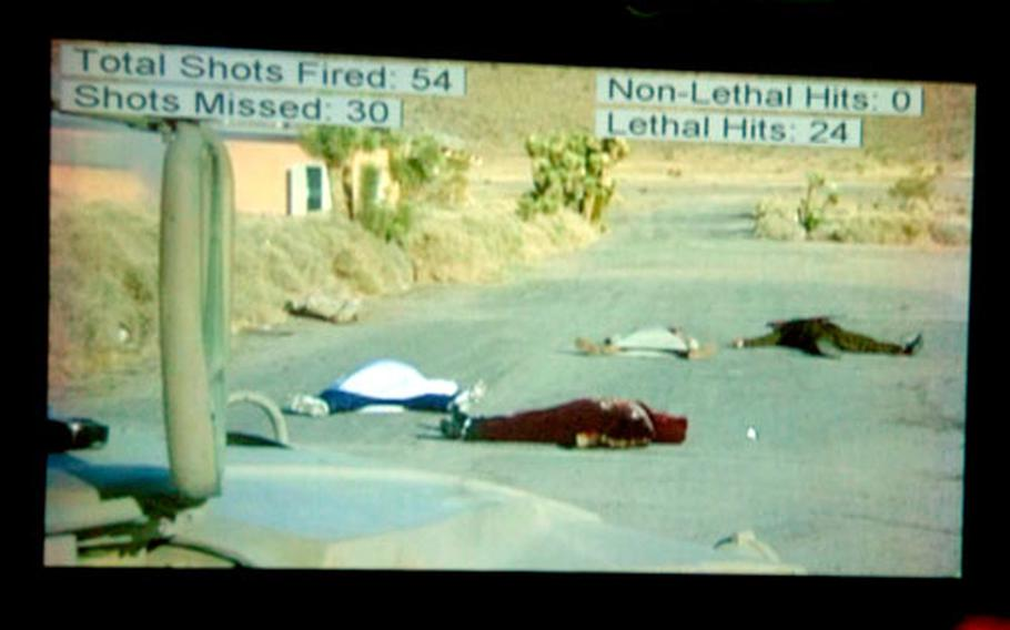 At the end of each scenario the computer software shows the number of shots fired, the number missed, the number of lethal hits and the number of nonlethal hits.