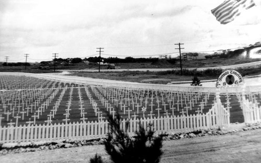 The Army's 7th Infantry Division Cemetery located in the Isa district of Ginowan, near what is now Camp Foster, in 1946.