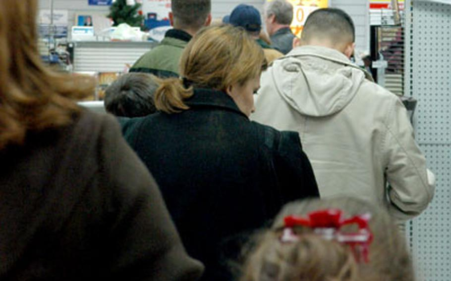 The lines were long Tuesday afternoon at the post exchange in Wiesbaden, Germany, as shoppers took advantage of post-Christmas deals.