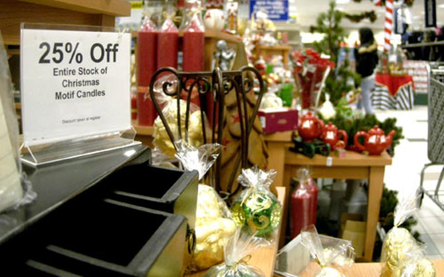 Customers took advantage of post-Christmas sales on Tuesday at the Navy Exchange in Naples, Italy. Sales included 25 percent off the price of holiday decorations, toys and costume jewelry.