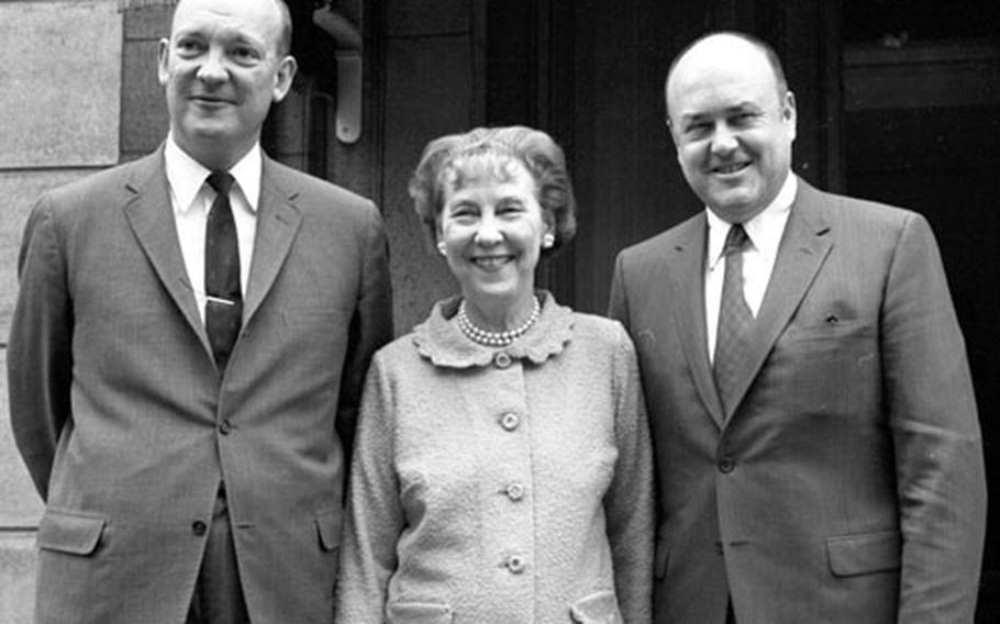 U.S. Ambassador to Belgium John Eisenhower; his mother, former first lady Mamie Eisenhower; and Secretary of Defense Melvin Laird pose for a photo in Brussels in May, 1969.