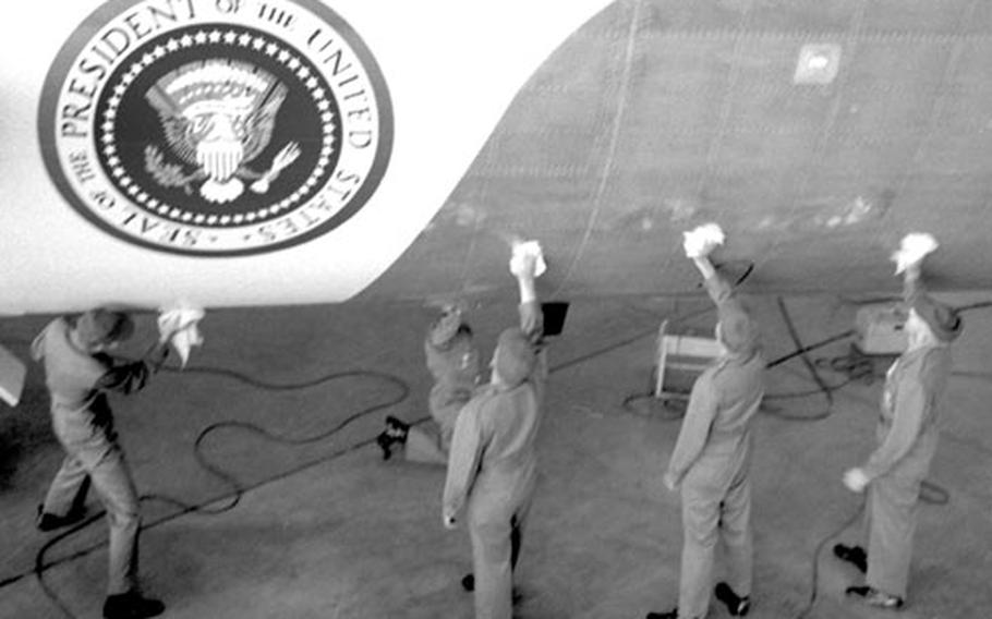Air Force One gets a cleaning at Andrews Air Forcec Base in 1966.