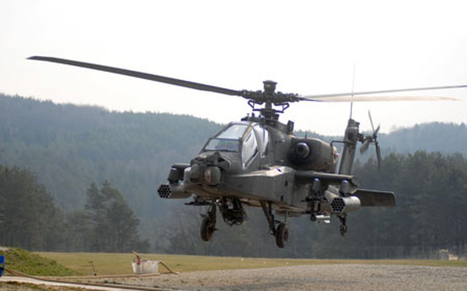 Task Force 3rd Battaliion, 158th Aviation Regiment, which includes Apache, Blackhawk and Chinook helicopters is training at Hohenfels this week in preparation for deployment to Iraq. More than 6,000 personnel — most headed for Iraq or Afghanistan — are participating in the largest-ever mission rehearsal exercise at the Joint Multinational Readiness Center.