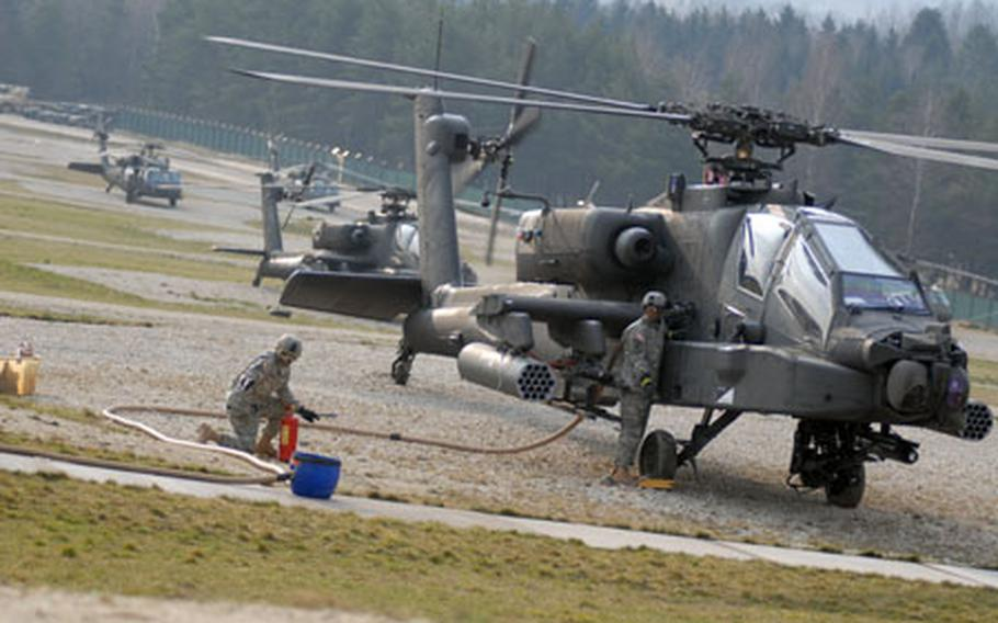 Task Force 3rd Battaliion, 158th Aviation Regiment, which includes Apache, Blackhawk and Chinook helicopters, is training at Hohenfels this week in preparation for deployment to Iraq.