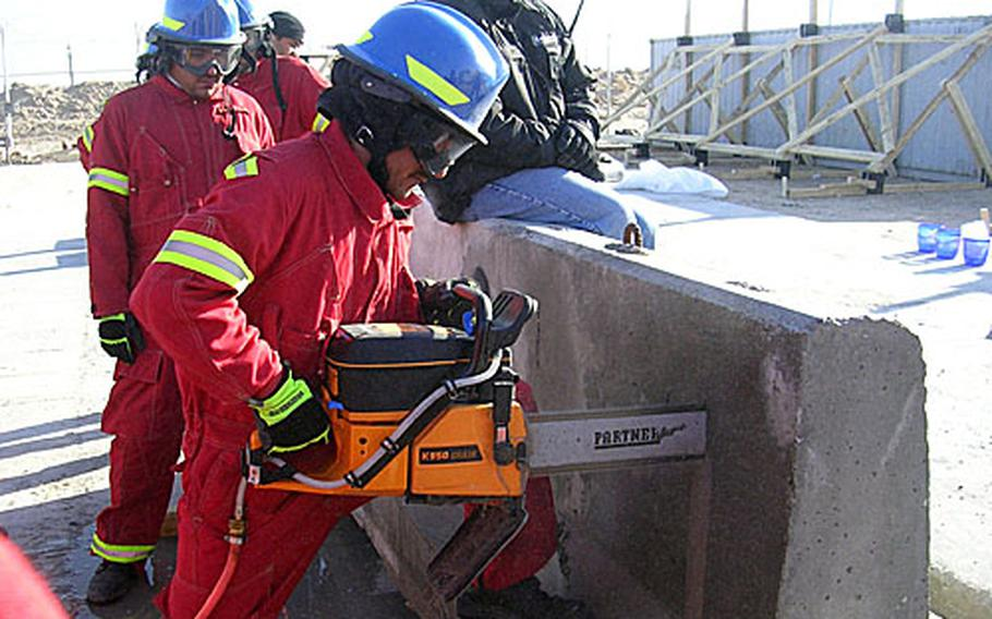 Iraqi firefighters learn how to bore through concrete to rescue people from collapsed buildings.