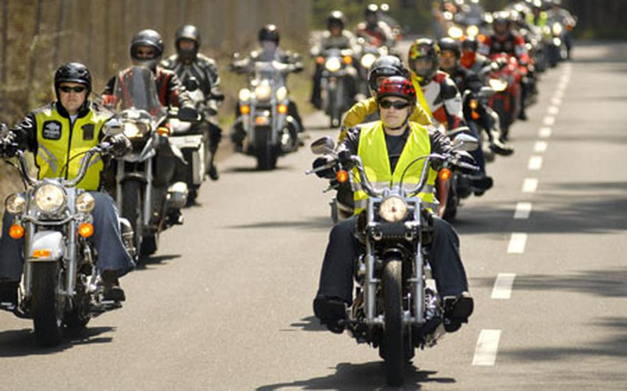 Over 100 motorcyclists from across Germany revved off on their 52-mile mentorship ride Friday starting at Kapun Air Station. The event marks the first time the Kaiserslautern community has organized an event of this size focused on motorcycle safety.