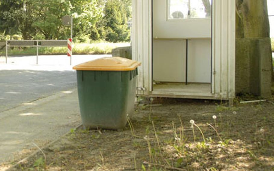 One of many guard shacks sits empty at a U.S. military housing area Wednesday in Wiesbaden, Germany.