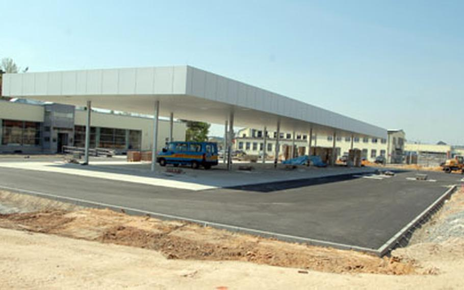 Workers at Grafenwöhr are nearing the completion of a $5.3 million service station and shopping facility that will include 12 gas pumps, a shoppette, dry cleaners, snack bar and video rental store.