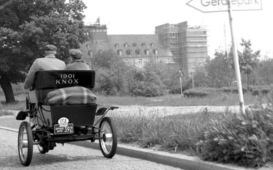 Roger and Elsie Johnson of Hadley, Mass. in their 1901 Knox in West Germany in June, 1960.