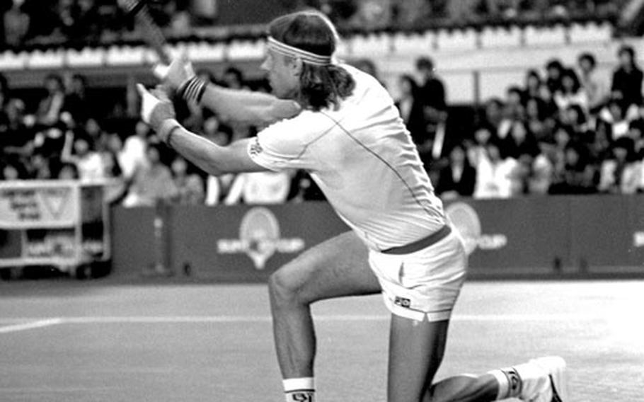 Bjorn Borg, during his 5-7, 6-4, 6-3 win over Vince Van Patten in the 1982 Suntory Cup tennis event at Tokyo.