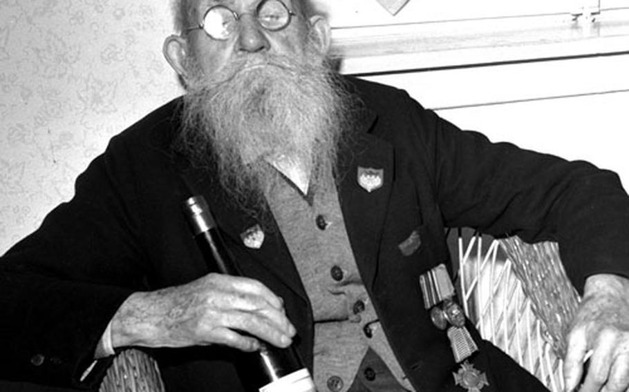 Franco-Prussian War veteran Karl Gloeckner at his 107th birthday celebration in December, 1952.