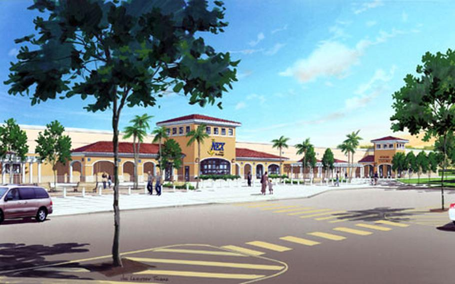 An artist's rendering of the retail complex slated for Naval Station Rota, Spain.