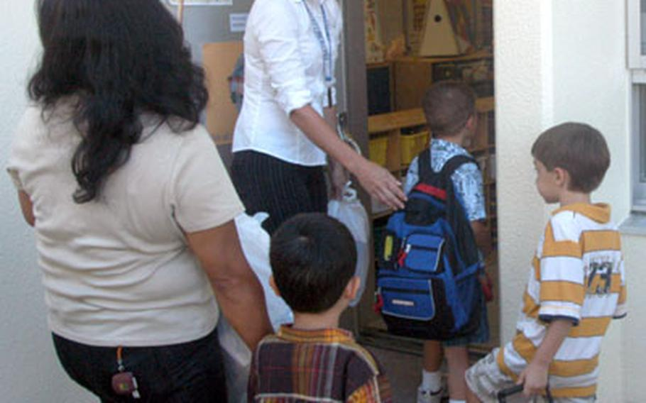 Students enter Jennifer Ehret's kindergarten class at Killin Elementary School.