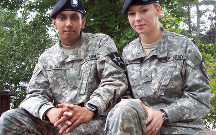 Pvt. Naveed Ali Shah and Pvt. Angela McKenzie arrived at their post in South Korea last week as newlyweds, having met during advanced individual training. McKenzie adopted her husband's Islamic faith in July and is fasting during her first Ramadan.