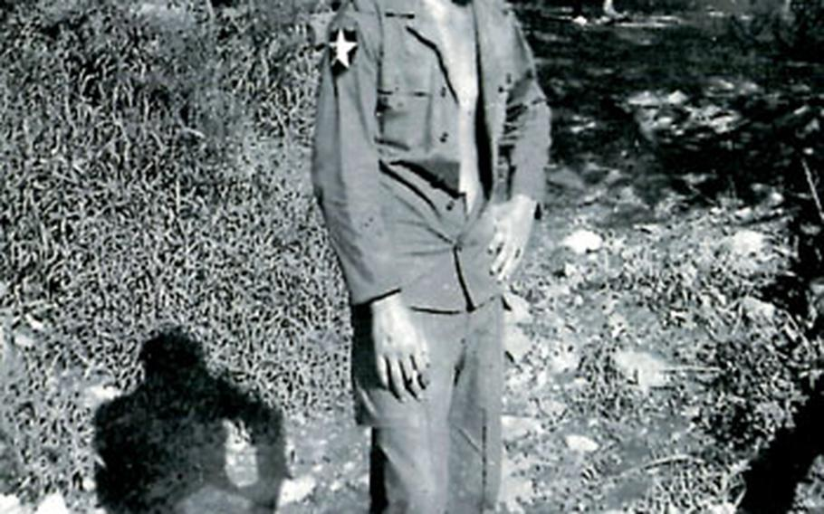 Pfc. Bud Albert, 18, stands at Hangyeri, South Korea, in May 1951. Two days after arriving in South Korea, he fought in a battle against the Chinese. U.S. and South Korean forces won despite being outnumbered, and approximately 20,000 Chinese soldiers were killed.