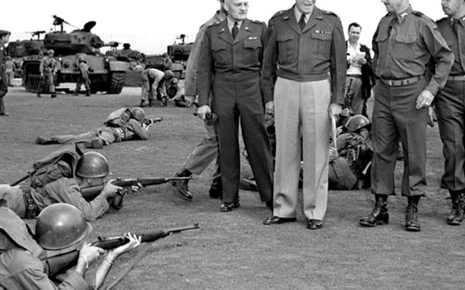Gen. Dwight D. Eisenhower visits the 2nd Armored Division's Combat Command B at Mainz, Germany, in August, 1951.