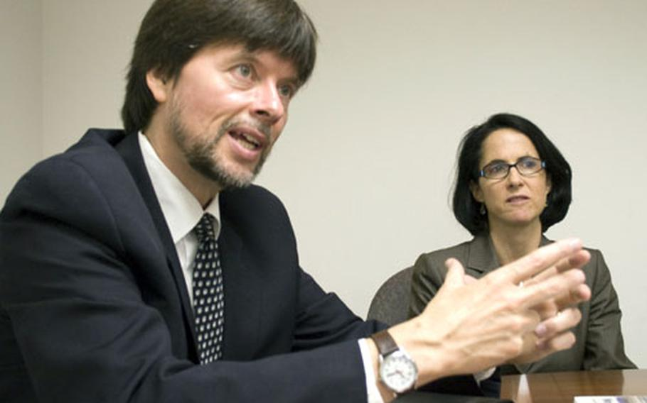 """Co-producers and co-directors Ken Burns and Lynn Novick talk about their new World War II documentary, """"The War,"""" during a visit to Stars and Stripes' Washington, D.C. office on Wednesday."""
