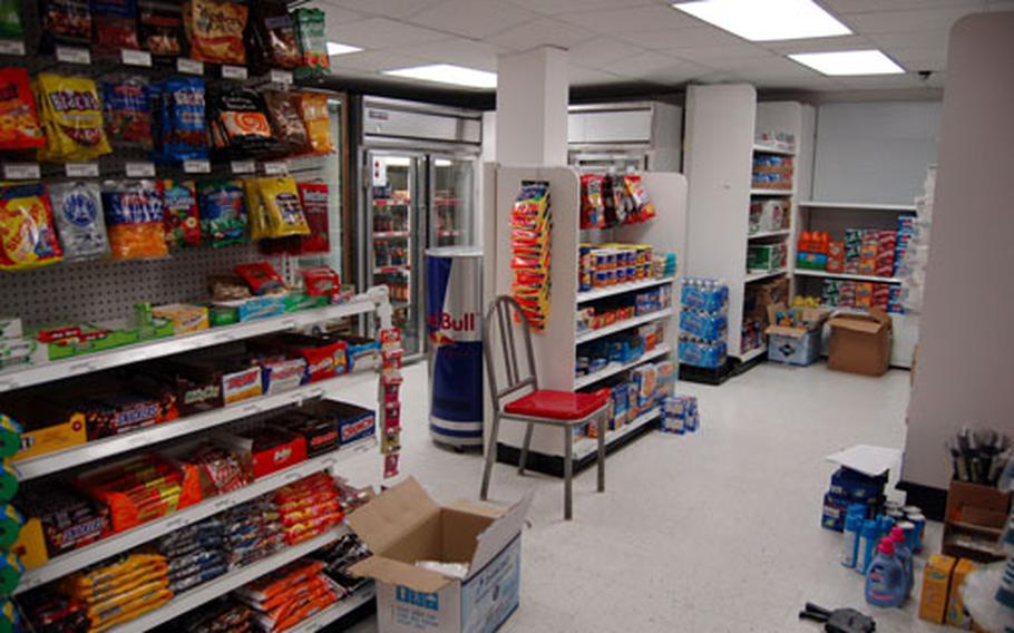 AAFES officials moved essential goods into the snack bar after closing the post exchange on Sept. 14.