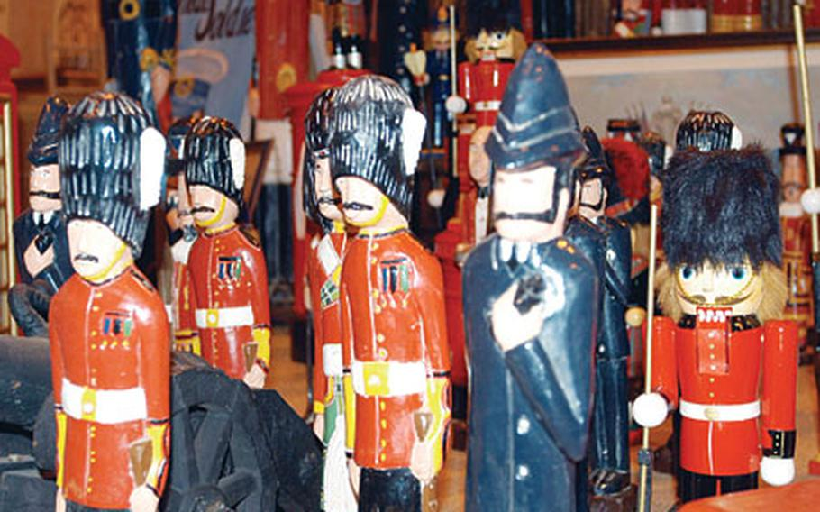Toy soldiers stand on display last year at Lakenheath's annual holiday bazaar. The bazaar offers items ranging from ceramics to antiques.