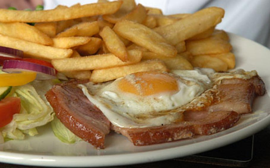 The delicious gammon steak and chips at The Saxon pub in Weeting.