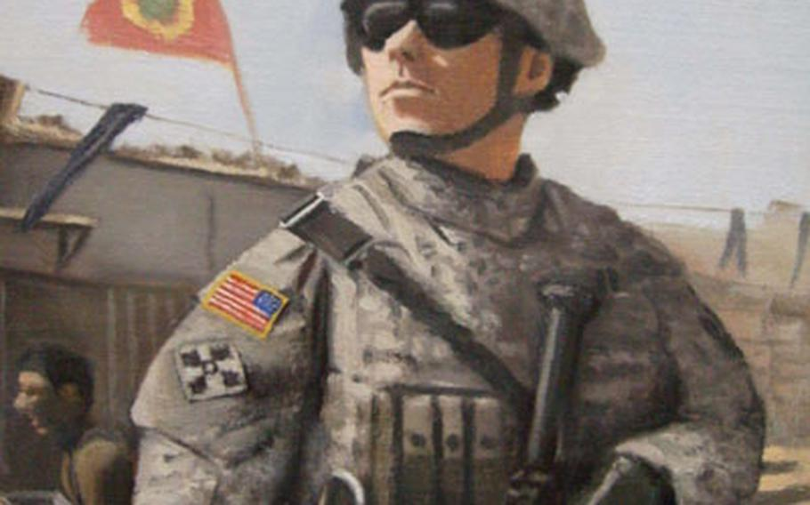 A soldier keeps watch in this painting by Spc. John Lenaghan.