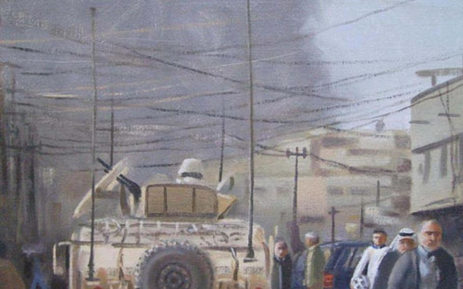 This painting captures the moment after an explosion in eastern Baghdad earlier this year.