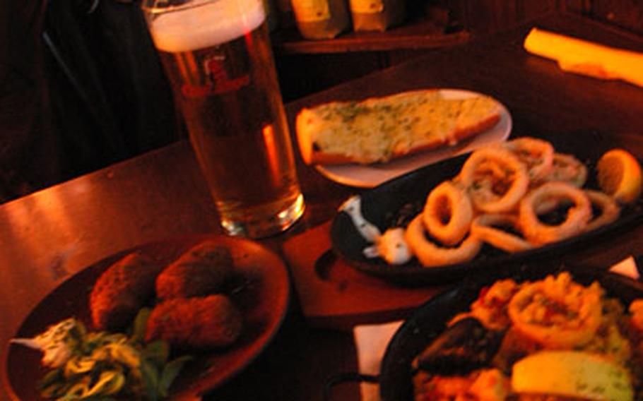 A table of tapas and a Spanish brew at La Tasca in Cambridge.