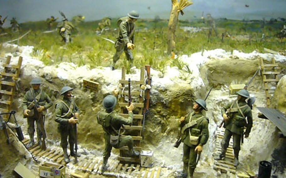 A miniature scene recreating the Battle of the Somme during World War I is displayed inside London's Imperial War Museum.