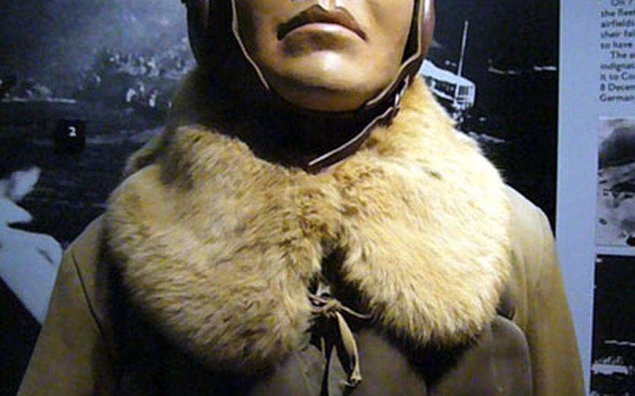 A mannequin portraying a Japanese naval pilot is displayed in London's Imperial War Museum.
