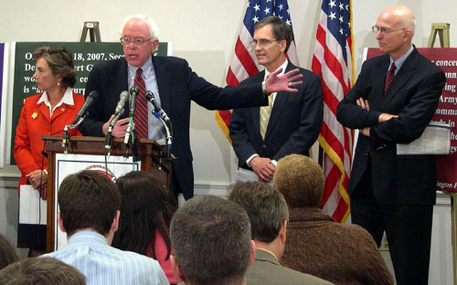 Sen. Bernie Sanders, I-Vermont, speaks with reporters about a bill sponsored by Rep. Jan Schakowsky, D-Ill., left during a Capitol Hill press conference Wednesday. The measure would phase out the use of private security contractors in Iraq and Afghanistan. At right are Rep. Tom Allen, D-Maine, and former assistant secretary of defense Lawrence Korb.