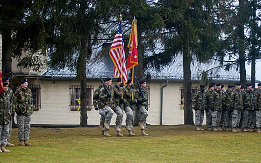 Soldiers from the 1st Battalion, 94th Field Artillery Regiment uncase their colors and march in formation after returning from a deployment in Romania. About 350 soldiers from the unit trained with Romanian and Bulgarian forces as part of Task Force Deep Steel.