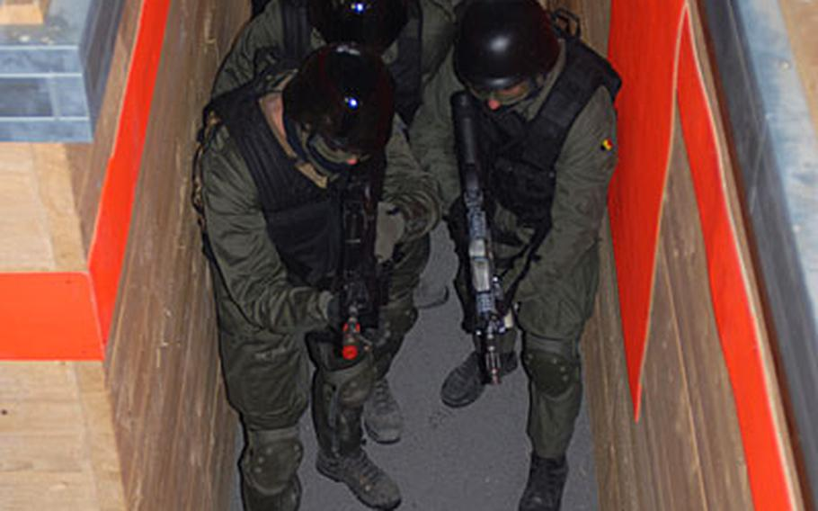 Belgian special forces soldiers are seen inside the new state-of-the-art shoot house at Grafenwöhr, Germany.