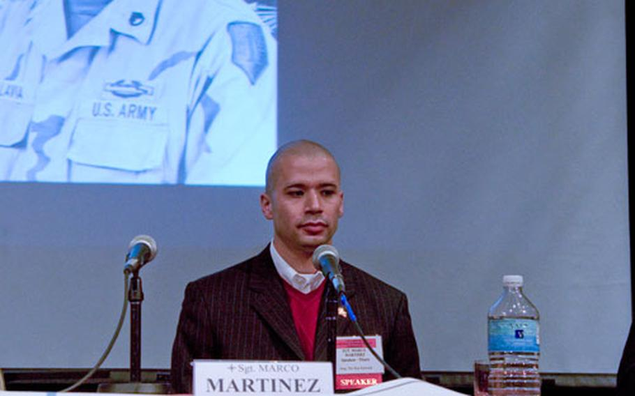 Marine Sgt. Marco Martinez, a Navy Cross recipient for his actions in Iraq, speaks to students at the 10th annual American Veterans Center convention in Washington.