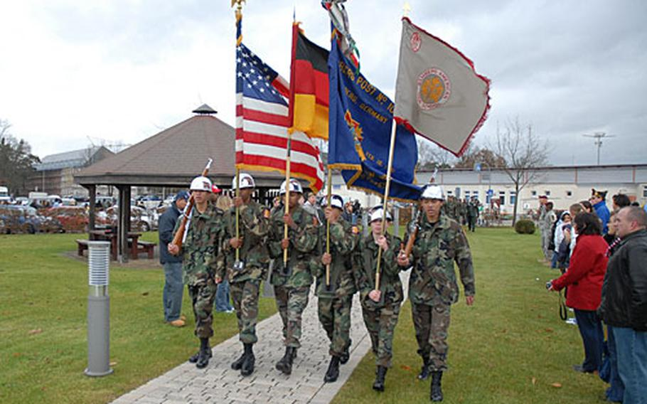 The 15th Junior ROTC Battalion Color Guard from Bamberg American High School posts the colors at a Veterans Day remembrance at Warner Barracks in Bamberg, Germany.