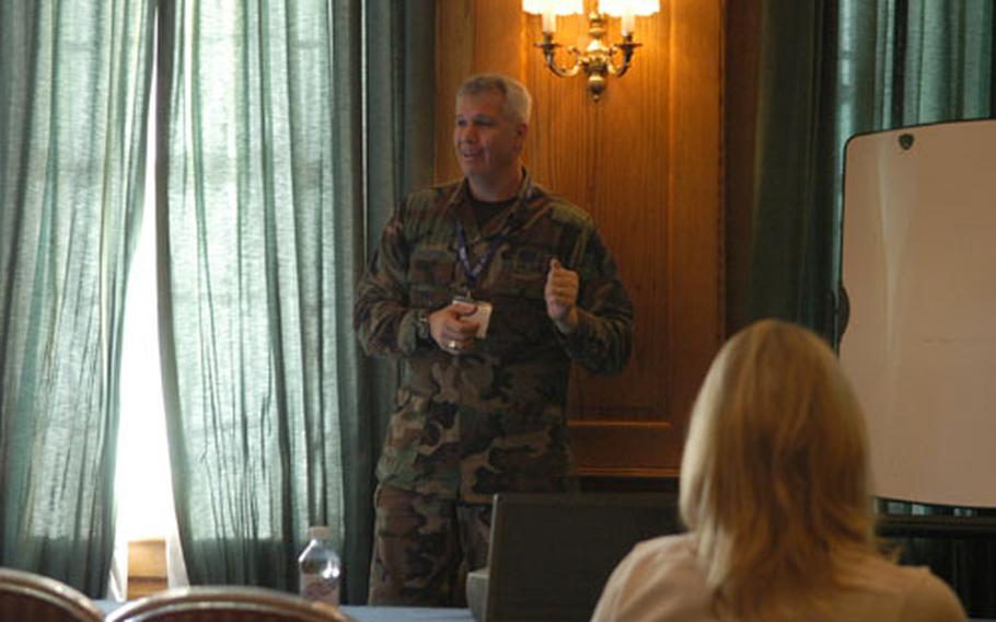 Chief Master Sgt. Mitchell Balutski of Lakenheath's 48th Communications Squadron was one of the speakers at the American Women's Activities, Germany, conference at RAF Mildenhall. The conference was a one-stop shop for learning the finer points of running a volunteer organization.