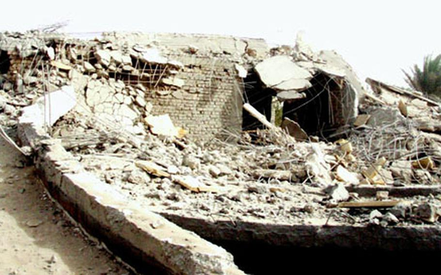 What used to be a house along the Tigris River is nothing but rubble Monday.
