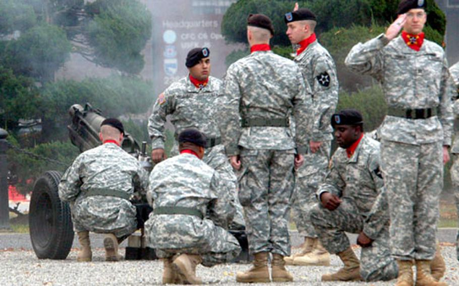 Soldiers of B Battery, 1st Battalion, 15th Field Artillery Regiment, fire cannons during the Combined Forces Command's 29th anniversary ceremony at Yongsan Garrison, South Korea, on Wednesday.